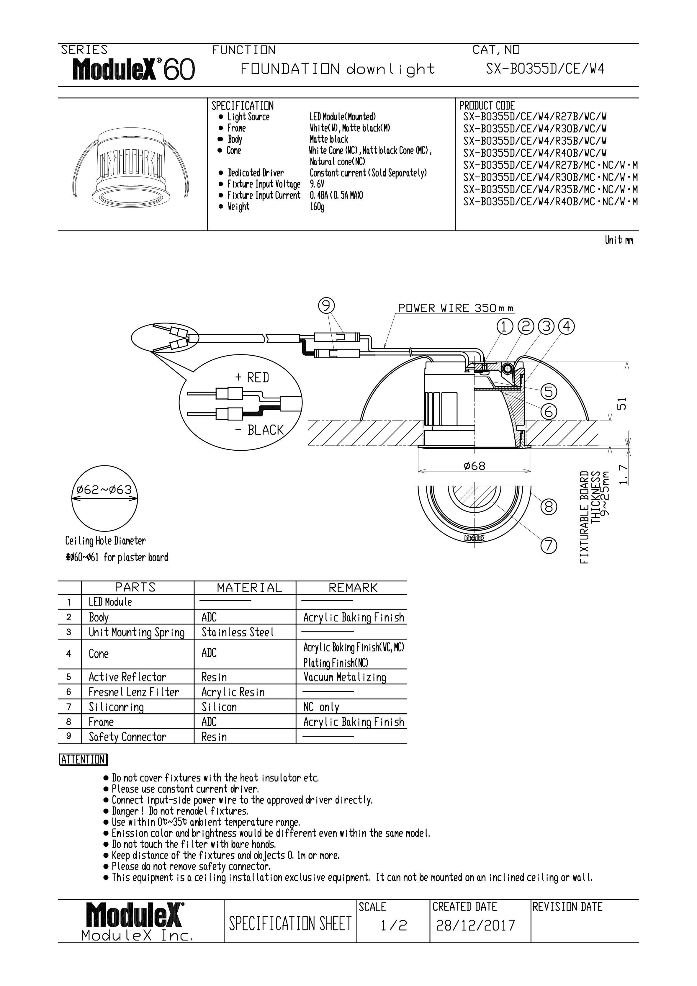 SX-B0355D/W4 Specification Sheet
